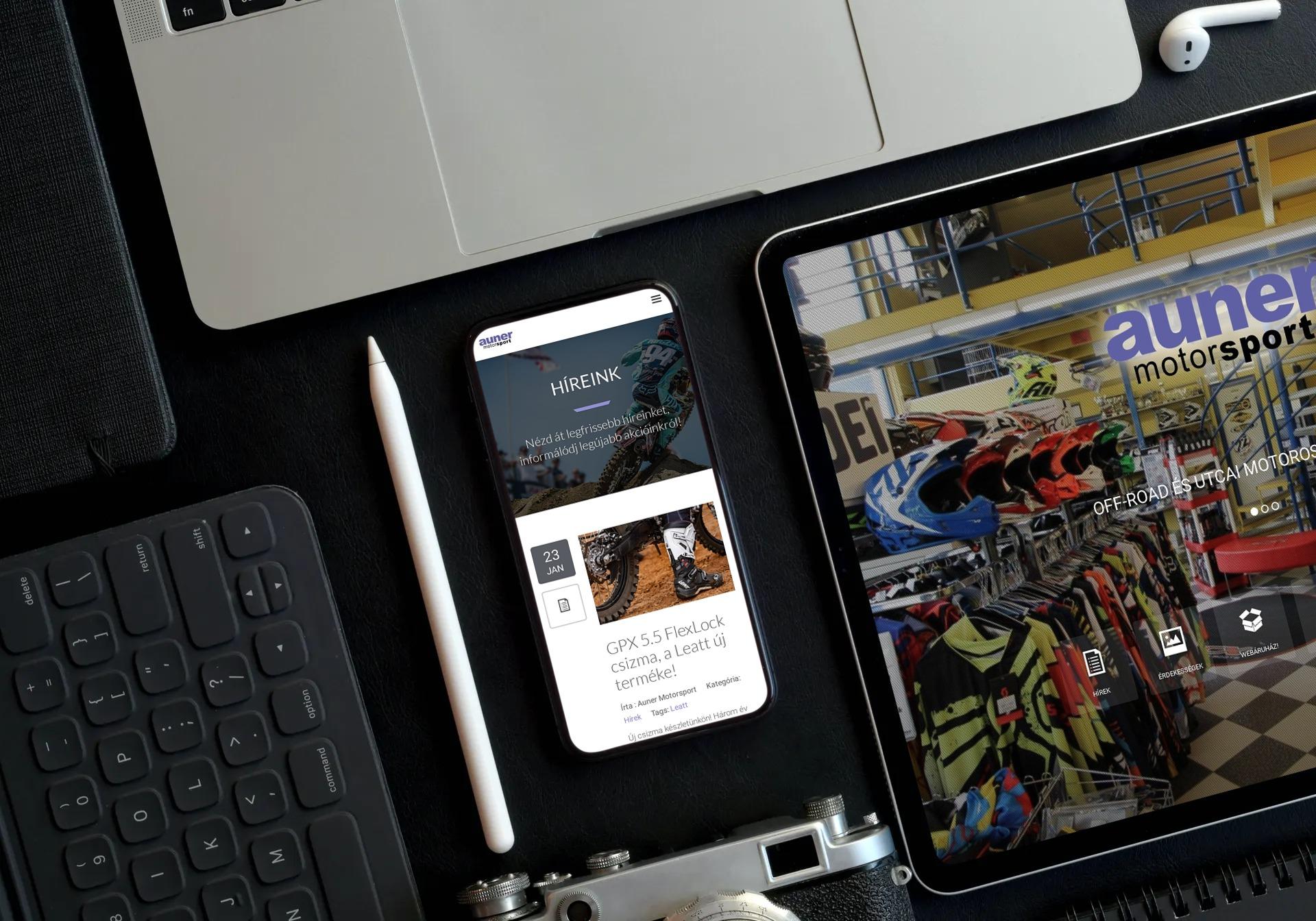 auner.hu weboldal reszponzív megjelenése okostelefonon és tableten