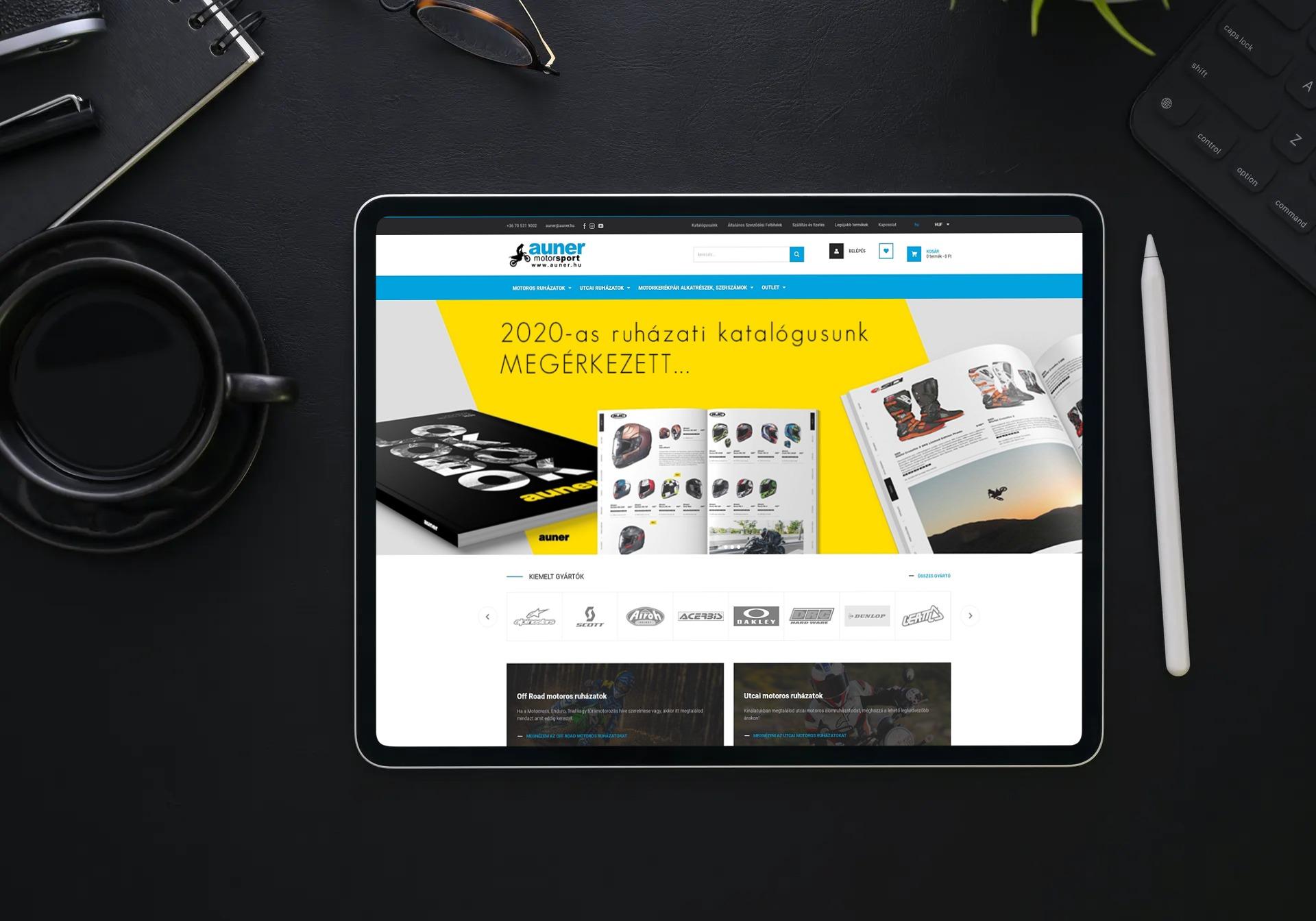 webshop.auner.hu weboldal megjelenése iPaden