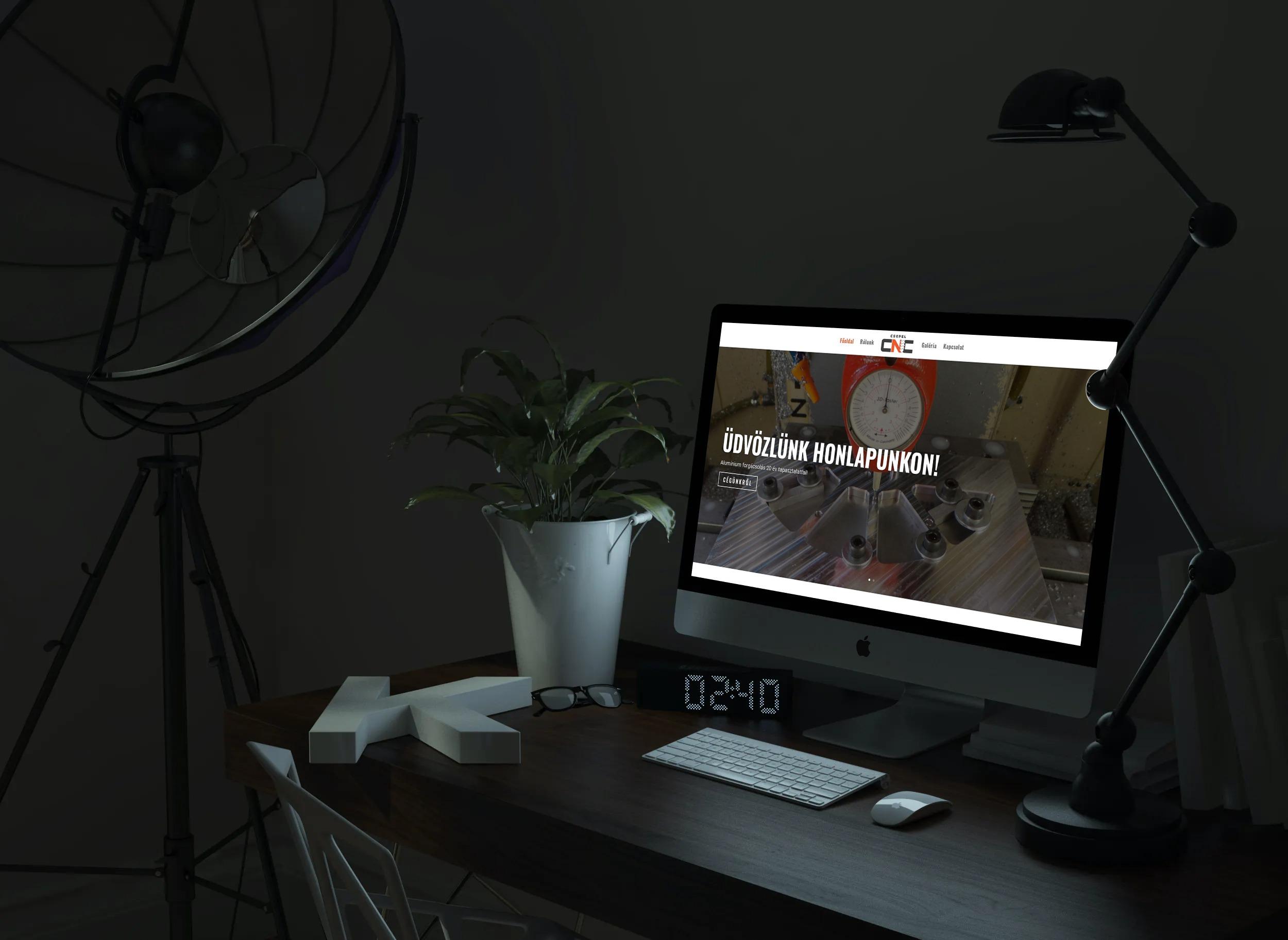 Csepelcnc.hu weboldal megjelenése asztali PC-n, IMac-en