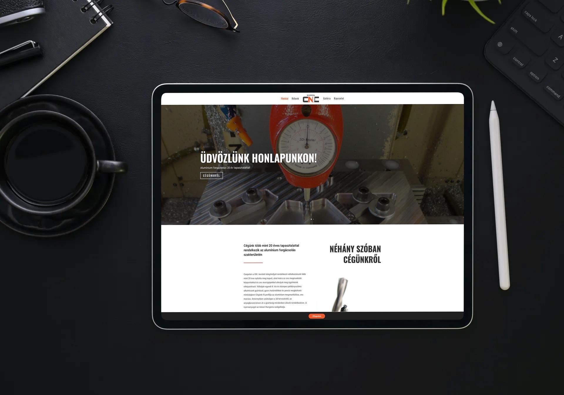 csepelcnc.hu weboldal megjelenése iPaden