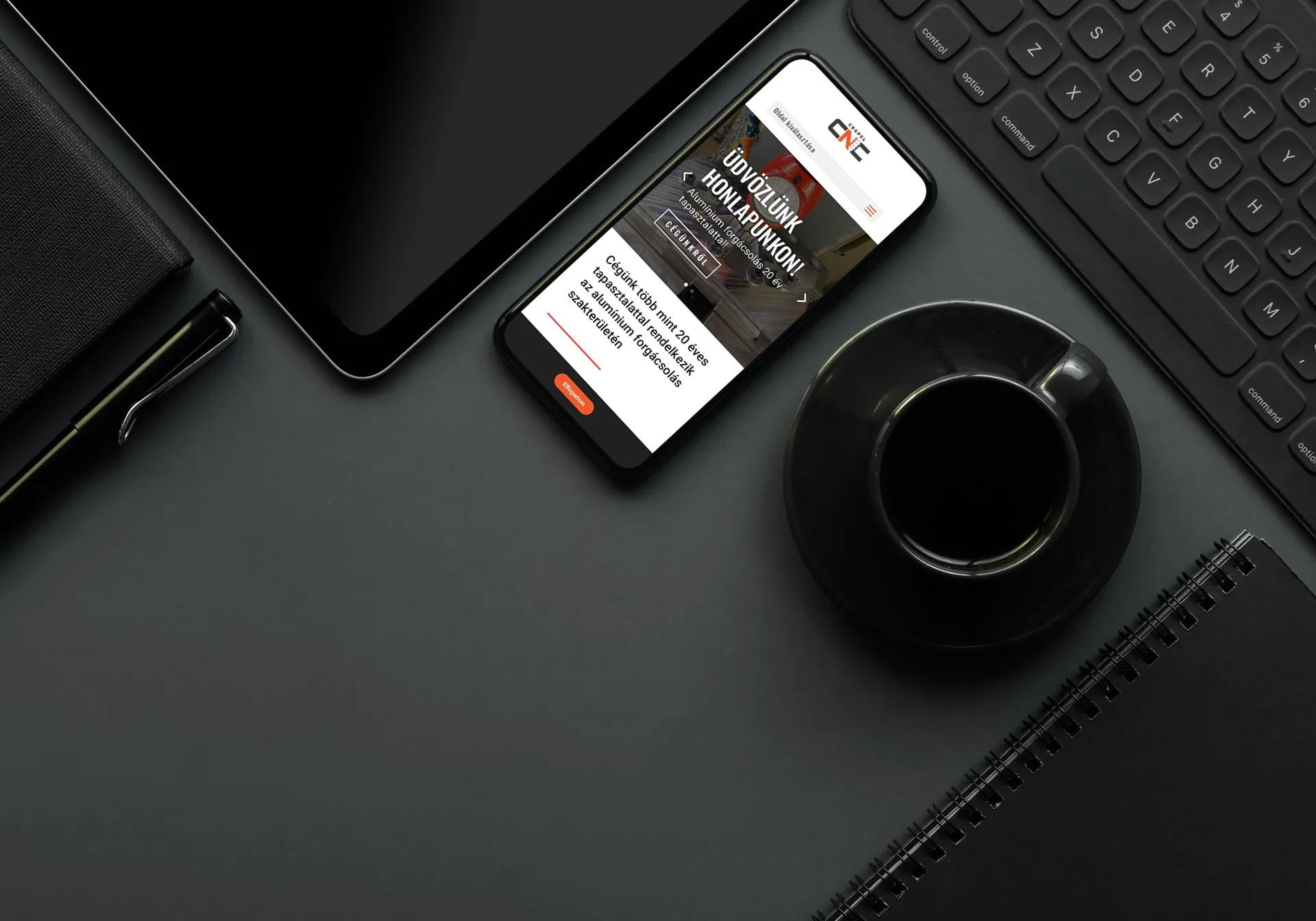 csepelcnc.hu weboldal megjelenése iPhone-on