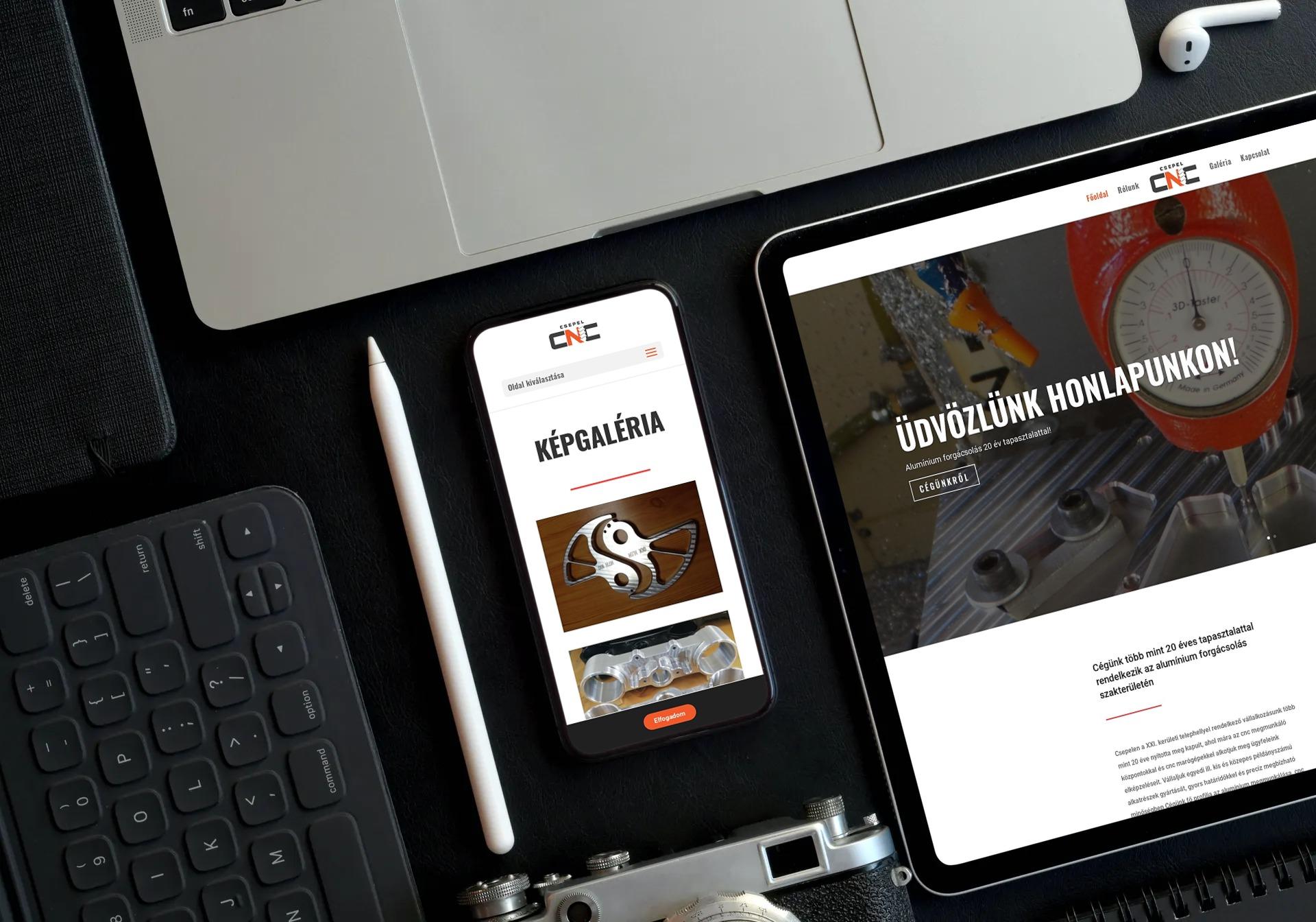 csepelcnc.hu weboldal reszponzív megjelenése iPaden és iPhone-on