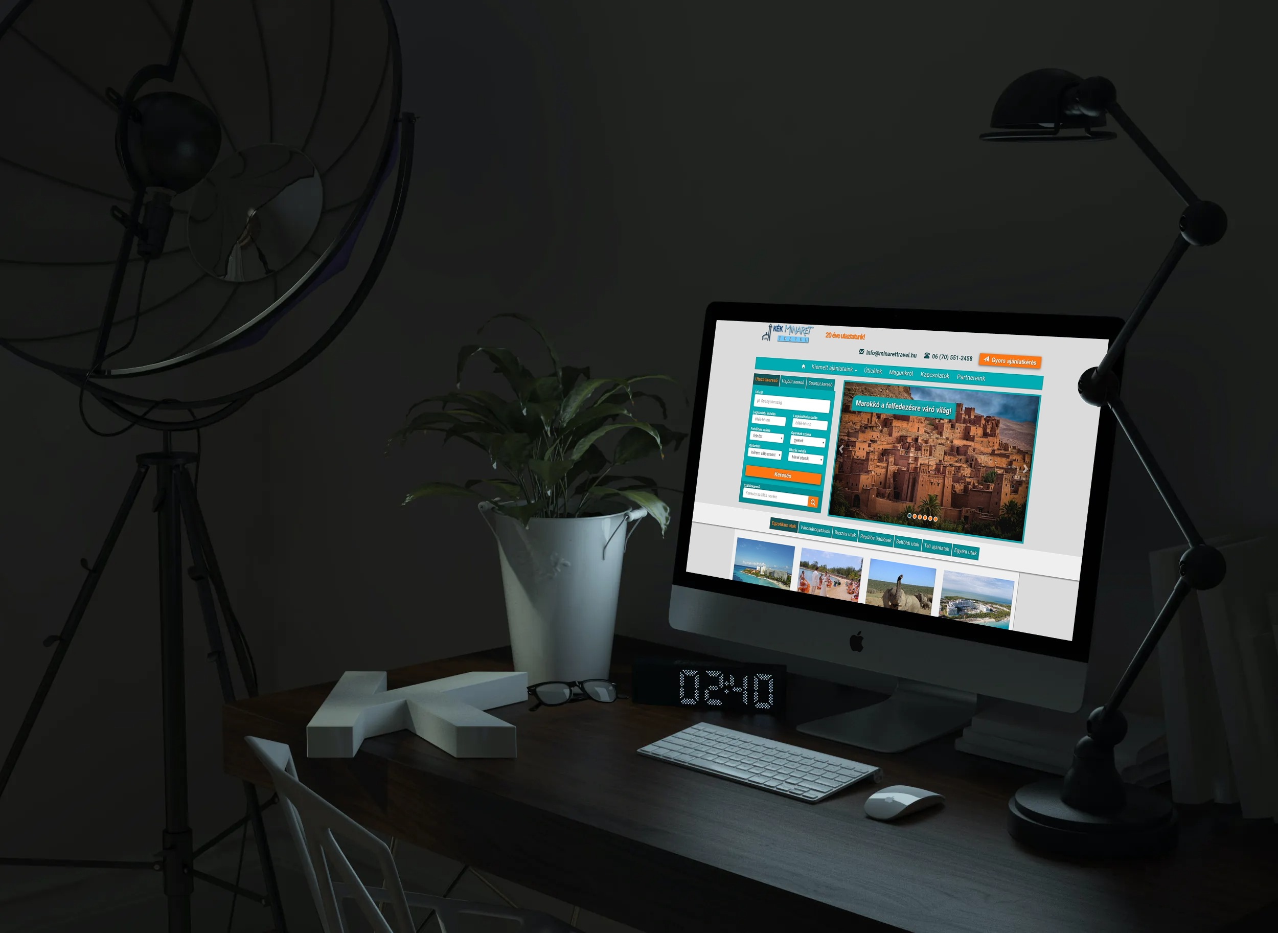 minarettravel.hu weboldal megjelenése asztali PC-n