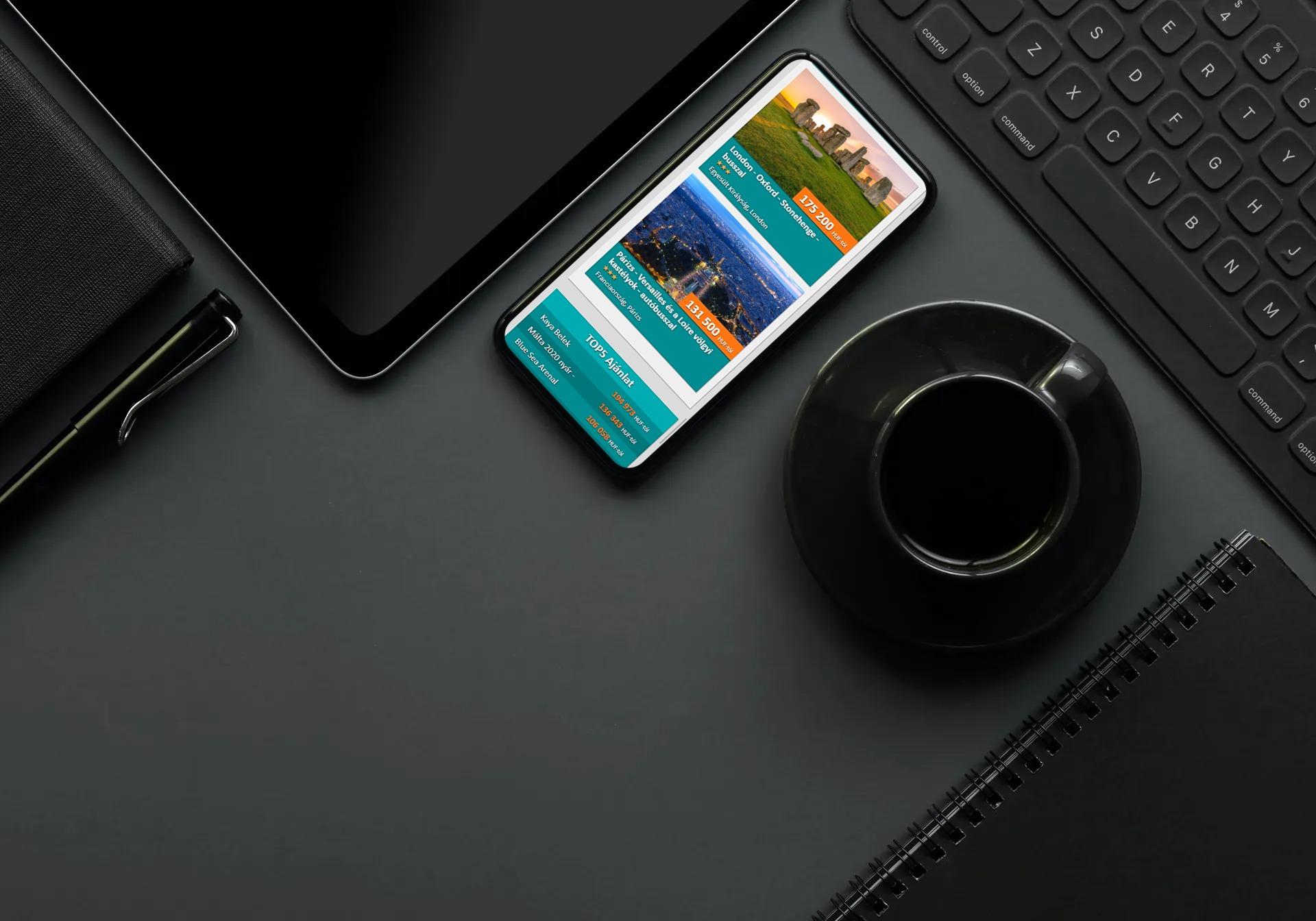 minarettravel.hu weboldal megjelenése okostelefonon