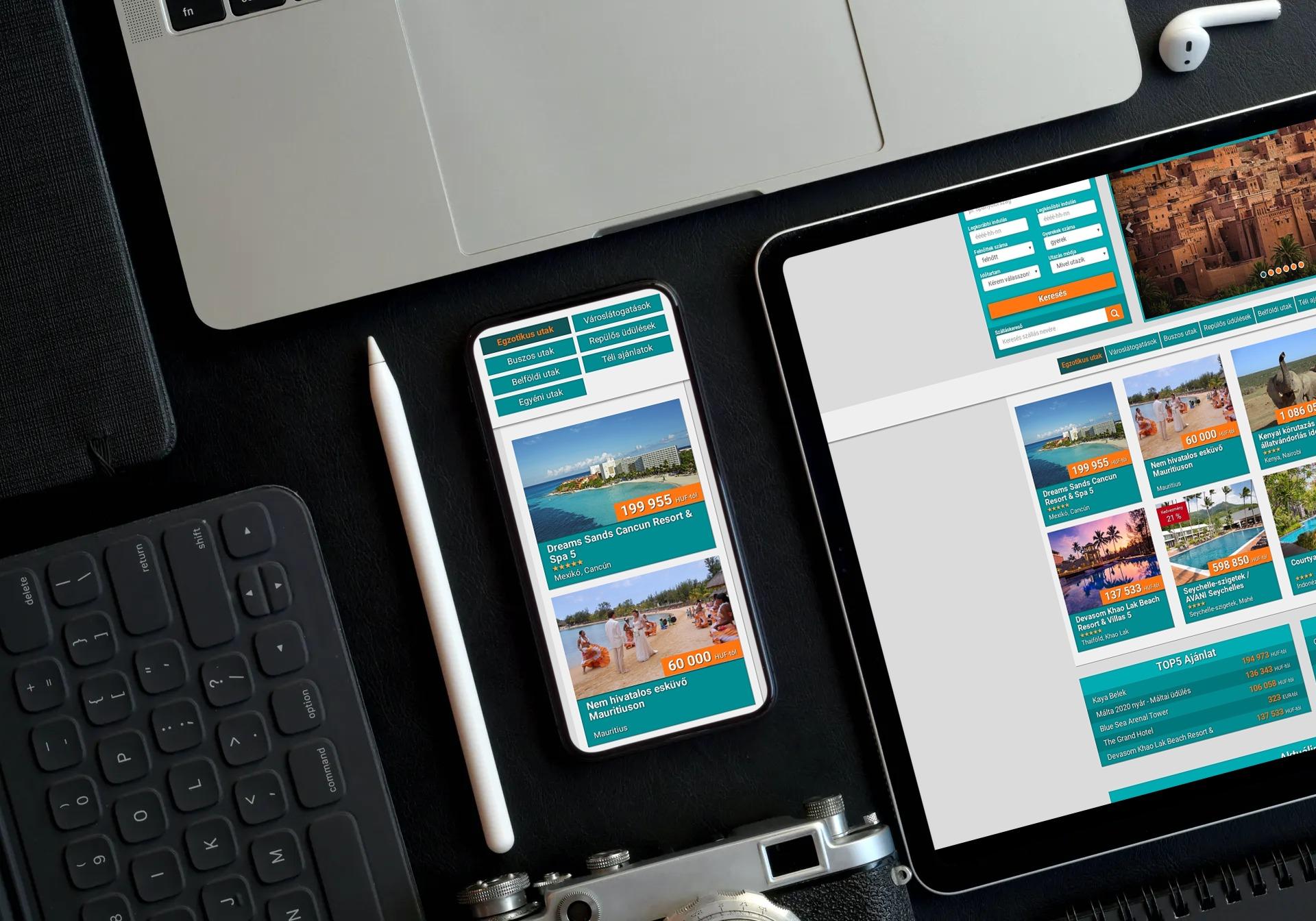 minarettravel.hu weboldal reszponzív megjelenése tableten és mobiltelefonon