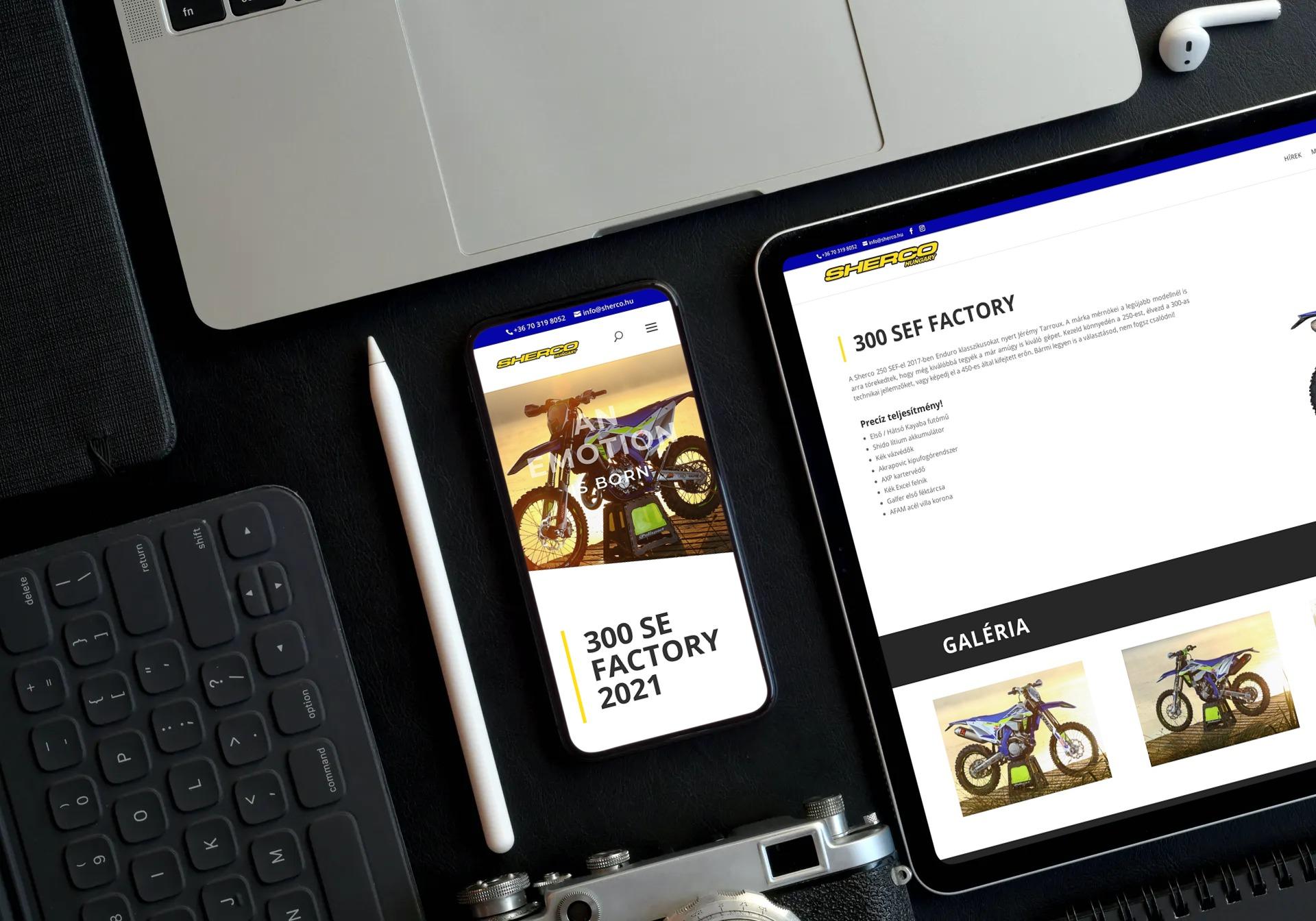 Sherco.hu weboldal reszponzív megjelenése tableten és mobiltelefonon